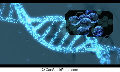 Various medical clips appearing on blue DNA helix background