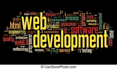 Web development concept in word tag cloud on black...