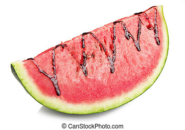 Watermelon and chocolate sliced close up on the white