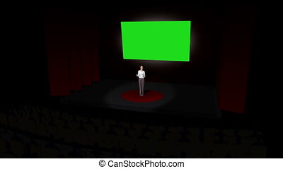 Woman talking about chroma key on black background at...