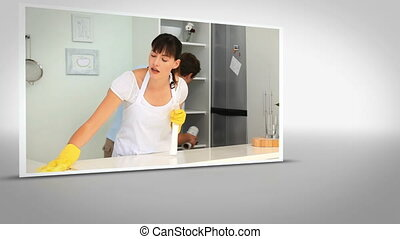 Clip of woman cleaning kitchen on white background with...
