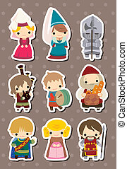 Medieval people stickers