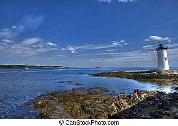 Portsmouth Lighthouse 96 - Blue skies over the lighthouse at...