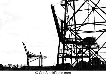 Silhouette cranes - Shipyard cranes in port viewed in...