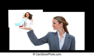 Businesswoman presenting videos of fashion retails on white...