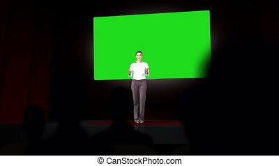 Businesswoman presenting chroma key