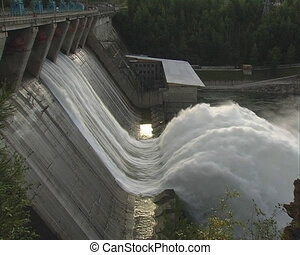 Spillway. - A dam with the floodgates open, taken from the...