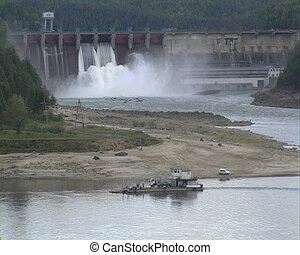 Electrical station on the river - Spillway of hydro electric...
