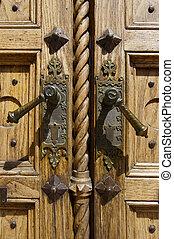 Detail of Old Wooden Door - Closeup of old light wooden door...