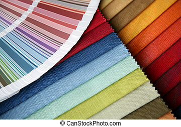 fabric and opened color card - samples of a fabric and...