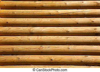 wooden logs - Wall of the rural house from wooden logs