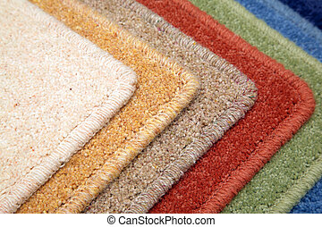 Samples of color of a carpet covering