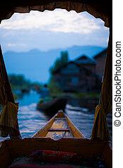Dal Lake Morning Floating Market Boat Front - A framed view...
