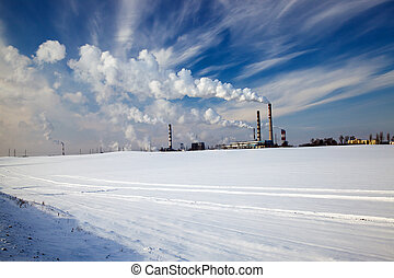 chemical factory - chemical factory in a winter season....