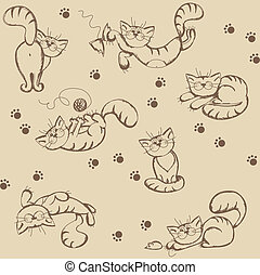 Seamless background with playful cats - Seamless background...