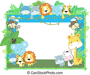 baby animals frame vector - cute jungle baby animals jungle...