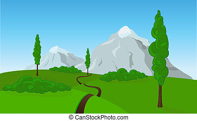 Vector countryside landscape - Countryside field landscape,...