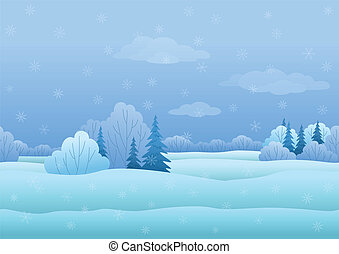 Christmas landscape, winter forest - Seamless background,...