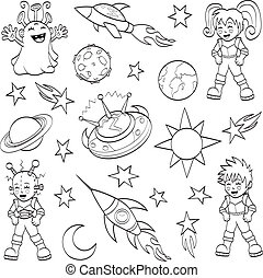 Cartoon outer space set - An illustration of cartoon...