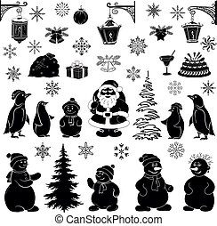 Christmas cartoon, set black silhouettes on white...