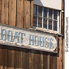 "Boat House Sign - Old ""Boat House"" sign carved on old wooden..."