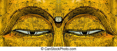 Buddha\\\'s Eyes - The eyes on a golden carving of...
