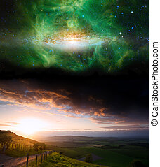 Countryside sunset landscape with planets in night sky...