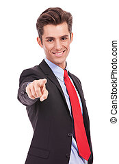 Businessman pointing at you - Business man pointing at you ,...
