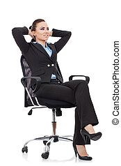 woman leaning  in a black chair