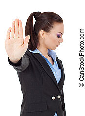 talk to the hand gesture - young business woman holding hand...