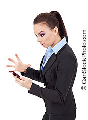 woman angry on phone - young attractive business woman angry...