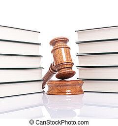 justice concept - law books and judges gavel on white...