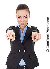 woman pointing with both hands