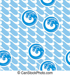 japan marine background - vector seamless background with...