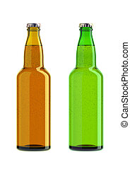 bottles of beer isolated