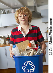 Boy Taking Out Recycling