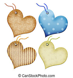 Gift tags in the form of heart Isolated on a white...