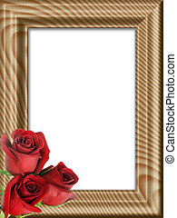 red roses on a wooden framework - Bouquet from three red...