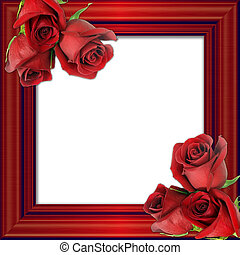 red roses on a red framework for photos. - Bouquet from...