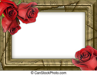 framework for photos with musical notes and roses