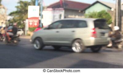 Urban road during traffic