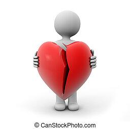unlove - 3d render of a man with a broken heart