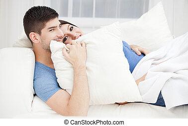 coppia, passione, giovane
