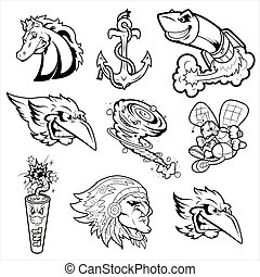 Various Mascot Characters Tattoos - Abstract Conceptual...