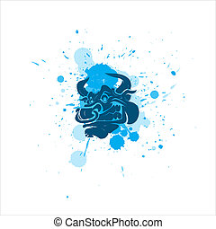 Angry Bull Vector - Creative Abstract Design Art of Angry...