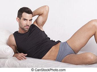 Closeup of a muscular handsome man - Closeup of a muscular...