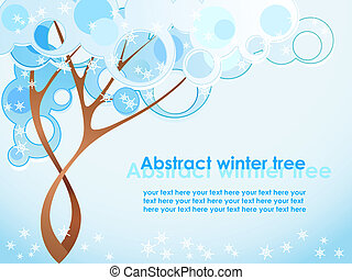 Abstract winter tree with snowflake