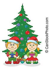 Christmas elves and fir tree