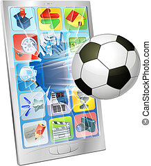 Soccer ball flying out of mobile phone - Illustration of an...