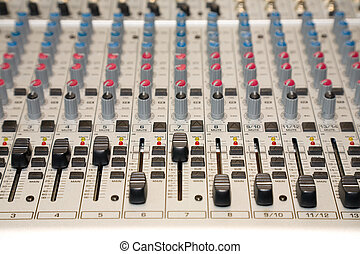 control panel - the control panel of sound mixer, close-up